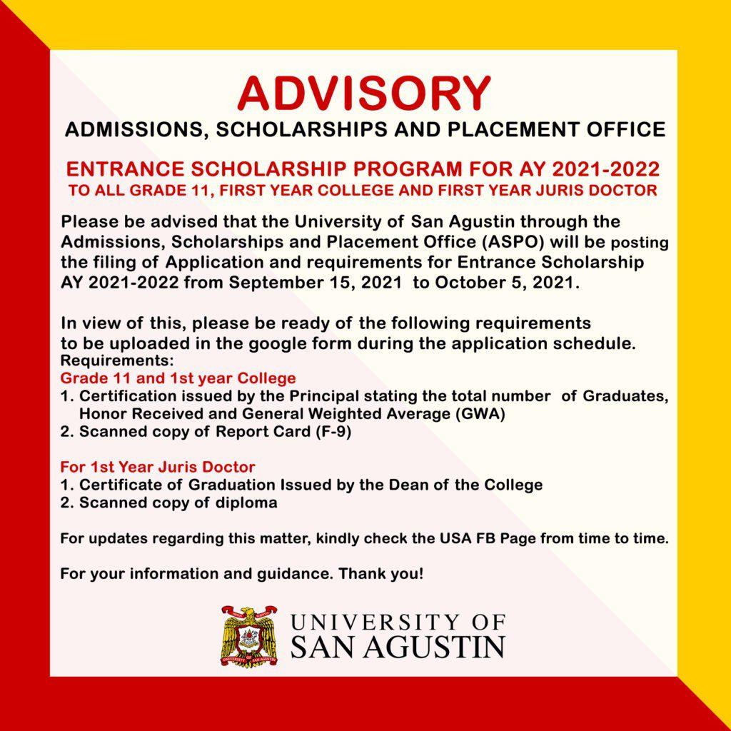 Advisory- ASPO Entrance Scholarship AY 2021-2022