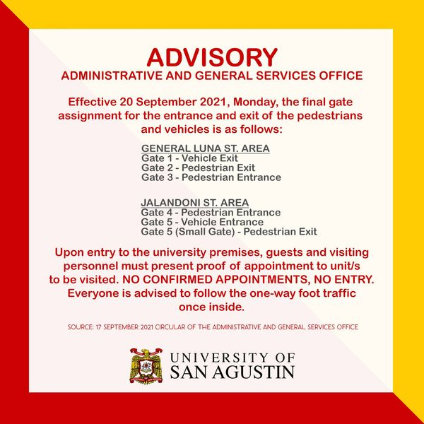 University of San Agustin - Updated Gates Assignment