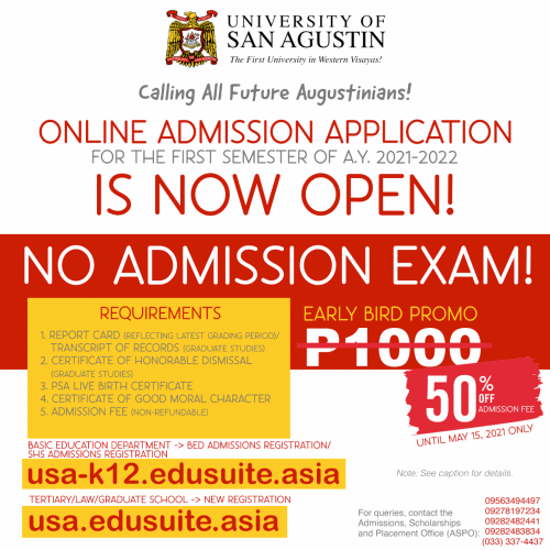 Online Admission Application for 1st Semester AY 2021 - 2022